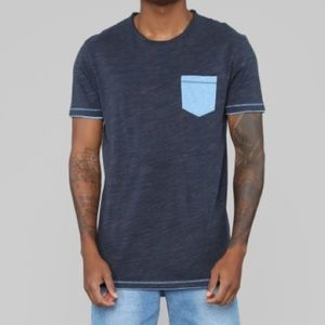 Dark and light blue pocket t shirt